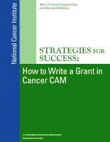 Tài liệu StrategieS for SucceSS: How to Write a Grant in Cancer CAM docx