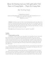 Quan hệ thương mại qua biên giới giữa việt nam và trung quốc – thực tế ở lạng sơn