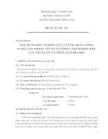 Tài liệu XÂY DỰNG KHU NGHIÊN CỨU VÀ ỨNG DỤNG CÔNG NGHỆ CAO TRONG SẢN XUẤT NÔNG LÂM NGHIỆP KHU VỰC TRUNG DU VÀ MIỀN NÚI PHÍA BẮC potx