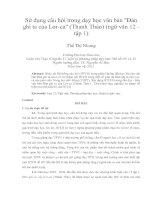 Sử dụng câu hỏi trong dạy học văn bản đàn ghi ta của lor ca (thanh thảo) (ngữ văn 12   tập 1)