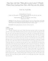 """Dạy học văn bản """"đàn ghi ta của lorca"""" (thanh thảo) theo hướng khai thác chất thơ của tác phẩm"""