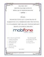 đánh giá năng lực cạnh tranh về marketing của mobifone đối với viettel và vinaphone trên địa bàn thành phố huế trong giai đoạn 2010-2013