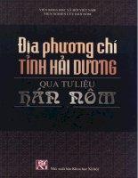 Tài liệu Địa phương chí tỉnh Hải Dương qua tư liệu Hán Nôm pptx