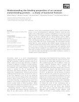 Tài liệu Báo cáo khoa học: Understanding the binding properties of an unusual metal-binding protein ) a study of bacterial frataxin pdf