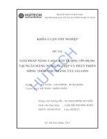 Giải pháp nâng cao chất lượng tín dụng tại NH Nông nghiệp & PTNT chi nhánh Tây SG