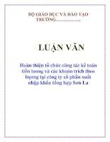 Tài liệu LUẬN VĂN: Hoàn thiện tổ chức công tác kế toán tiền lương và các khoản trích theo lƣơng tại công ty cổ phần xuất nhập khẩu tổng hợp Sơn La pdf