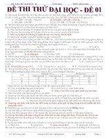 Đề và đáp án đề thi thử đại học lần 1 Nghĩa hàng 1 môn sinh học 2014