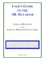 Tài liệu USER'S GUIDE TO THE -IR- DATABASE INDIANA REGISTER — AND — INDIANA ADMINISTRATIVE CODE doc