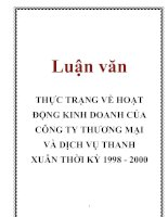 Tài liệu Luận văn: THỰC TRẠNG VỀ HOẠT ĐỘNG KINH DOANH CỦA CÔNG TY THƯƠNG MẠI VÀ DỊCH VỤ THANH XUÂN THỜI KỲ 1998 - 2000 doc