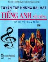 Tài liệu Tuyển tập những bài hát tiếng Anh nổi tiếng có lời Việt tham khảo (tập 1) ppt