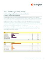 Tài liệu 2012 Marketing Trends Survey: Email Marketing and Social Media are Top Beneficiaries of Healthy 2012 Marketing Budgets doc