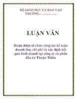 Hoàn thiện tổ chức công tác kế toán doanh thu, chi phí & xác định kết quả kinh doanh ở công ty cổ phần đầu tư Thuận Thiên