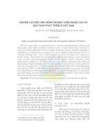 Tài liệu NGHIÊN CỨU MÔ HÌNH NÔNG NGHIỆP CÔNG NGHỆ CAO VÀ GIẢI PHÁP PHÁT TRIỂN Ở VIỆT NAM pdf