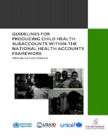 Tài liệu GUIDELINES FOR PRODUCING CHILD HEALTH SUBACCOUNTS WITHIN THE NATIONAL HEALTH ACCOUNTS FRAMEWORK pdf