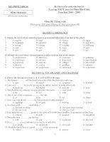 Đề thi tuyển sinh vào lớp 10 môn tiếng anh trường THPT chuyên phan bội châu tỉnh nghệ an năm học 2009  2010   đề 1