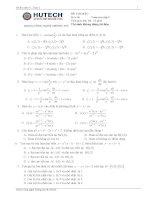 Đề thi mẫu toán cao cấp 2 Hutech