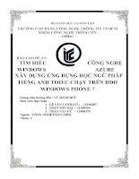 TÌM HIỂU CÔNG NGHỆ WINDOWS AZURE  xây DỰNG ỨNG DỤNG học NGỮ PHÁP học TIẾNG ANH TOEIC CHẠY TRÊN HDH WINDOWS PHONE 7