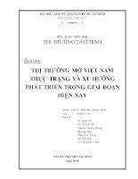 Tiểu luận thị trường tài chính: Thị trường mở Việt Nam thực trạng và xu hướng phát triển trong giai đoạn hiện nay