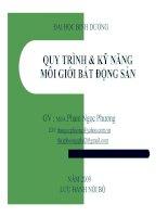Bài giảng Quy trình và kỹ năng môi giới bất động sản - GV. Phạm Ngọc Phương