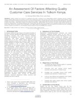 An assessment of factors affecting quality customer care services in telkom kenya  2