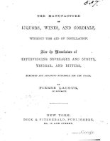 lacour - 1853 - the manufacture of liquors, wines, and cordials without the aid of distillation