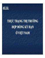 thuyết trình Đề tài: Thực trạng thị trường hợp đồng kỳ hạn ở Việt Nam