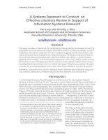 A Systems Approach to Conduct an Effective Literature Review in Support of Information Systems Research