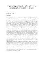 VẤN ĐỀ PHÁT TRIỂN VỐN TỪ VỰNG CHO HỌC SINH LỚP 9 - THCS