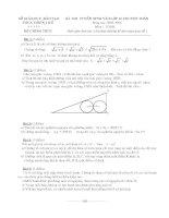Đề thi tuyển sinh vào chuyên toán Quốc Học Huế
