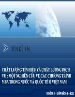 Thuyết trình: Chất lượng tín hiệu và chất lượng dịch vụ: một nghiên cứu về các chương trình MBA trong nước và quốc tế tại Việt Nam