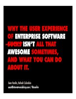 Why the User Experience of Enterprise Software sucks and what you can do about it