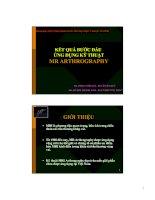 Tài liệu KẾT QUẢ BƯỚC ĐẦU ỨNG DỤNG KỸ THUẬT MR ARTHROGRAPHY pdf