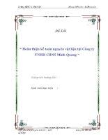 """Tài liệu BÁO CÁO THỰC TẬP """" Hoàn thiện kế toán nguyên vật liệu tại Công ty TNHH CBNS Minh Quang """" pdf"""