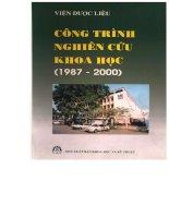 EBOOK - CÔNG TRÌNH NGHIÊN CỨU KHOA HỌC (VIỆN DƯỢC LIỆU 1987 - 2000)