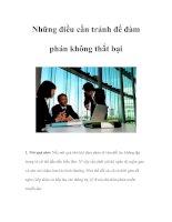 Tài liệu Những điều cần tránh để đàm phán không thất bại pdf