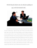 Tài liệu 10 lời khuyên dành cho các doanh nghiệp có quy mô kinh doanh nhỏ doc
