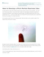 How to develop a pitch perfect business idea