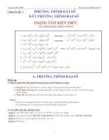 Chuyên đề 1 phương trình đại số