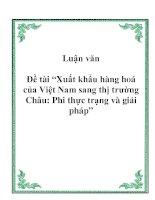 Tài liệu Luận văn tốt nghiệp: Xuất khẩu hàng hoá của Việt Nam sang thị trường Châu: Phi thực trạng và giải pháp doc