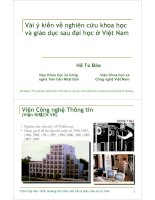 Tài liệu Vài ý kiến về nghiên cứu khoa học và giáo dục sau đại học ở Việt Nam pdf