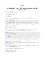 Tài liệu Dot Net-Bài 5-Những chức năng Đối Tượng mới của VB.NET (phần II) doc
