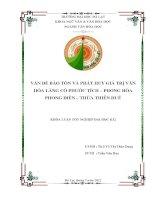 Vấn đề bảo tồn và phát huy giá trị văn hóa làng cổ Phước Tích-Phong Hòa Phong Điền-Thừa Thiên Huế