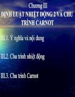 Tài liệu Chương III ĐỊNH LUẬT NHIỆT ĐỘNG 2 VÀ CHU TRÌNH CARNOT doc