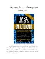 Tài liệu MBA trong tầm tay - Đầu tư tự doanh (Phần Hai) docx