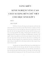 Tài liệu SÁNG KIẾN KINH NGHIỆM - NÂNG CAO CHẤT LƯỢNG RÈN CHỮ VIẾT CHO HỌC SINH LỚP 1 doc