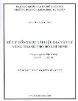 Luận án tiến sĩ Xử lý tổng hợp tài liệu địa lý vật lý vùng thành phố Hồ Chí Minh