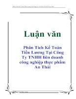 Tài liệu Luận văn: Phân Tích Kế Toán Tiền Lương Tại Công Ty TNHH liên doanh công nghiệp thực phẩm An Thái doc