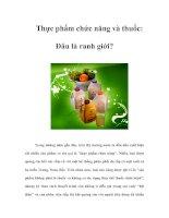 Tài liệu Thực phẩm chức năng và thuốc: Đâu là ranh giới? pdf
