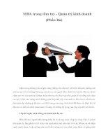 Tài liệu MBA trong tầm tay - Quản trị kinh doanh (Phần Ba) ppt