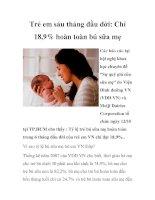 Tài liệu Trẻ em sáu tháng đầu đời: Chỉ 18,9% hoàn toàn bú sữa mẹ pptx
